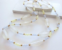 Vintage Monet Light Spring Green Lavender Purple Clear Lucite Bead Necklace AA25 - $13.59