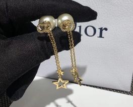 Authentic Christian Dior 2019 CD LOGO CHAIN STAR DANGLE DROP Earrings image 5