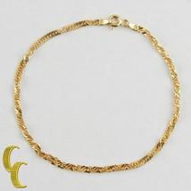 "Mcs 14k Gelbgold Gedreht Link Kette Armband (8 "") Hergestellt in Italien - $123.89"