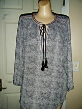 NWOT DANIEL RAINN BLACK/WHITE 3/4 SLEEVE TUNIC TOP SIZE L - $29.02