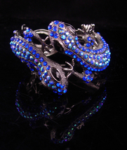 Brilliant Lizard rhinestone bracelet over 100 aurora borealis rhinestones PURE g - $145.00
