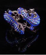 Brilliant Lizard rhinestone bracelet over 100 aurora borealis rhinestone... - $145.00
