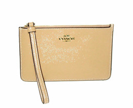 Coach Patent Leather Small Wristlet Wallet Beechwood Champagne Ivory 320... - $49.99