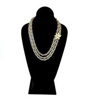 Vintage Crown Trifari Multi Strand Floral Gold Tone Front Clasp Necklace - $46.54