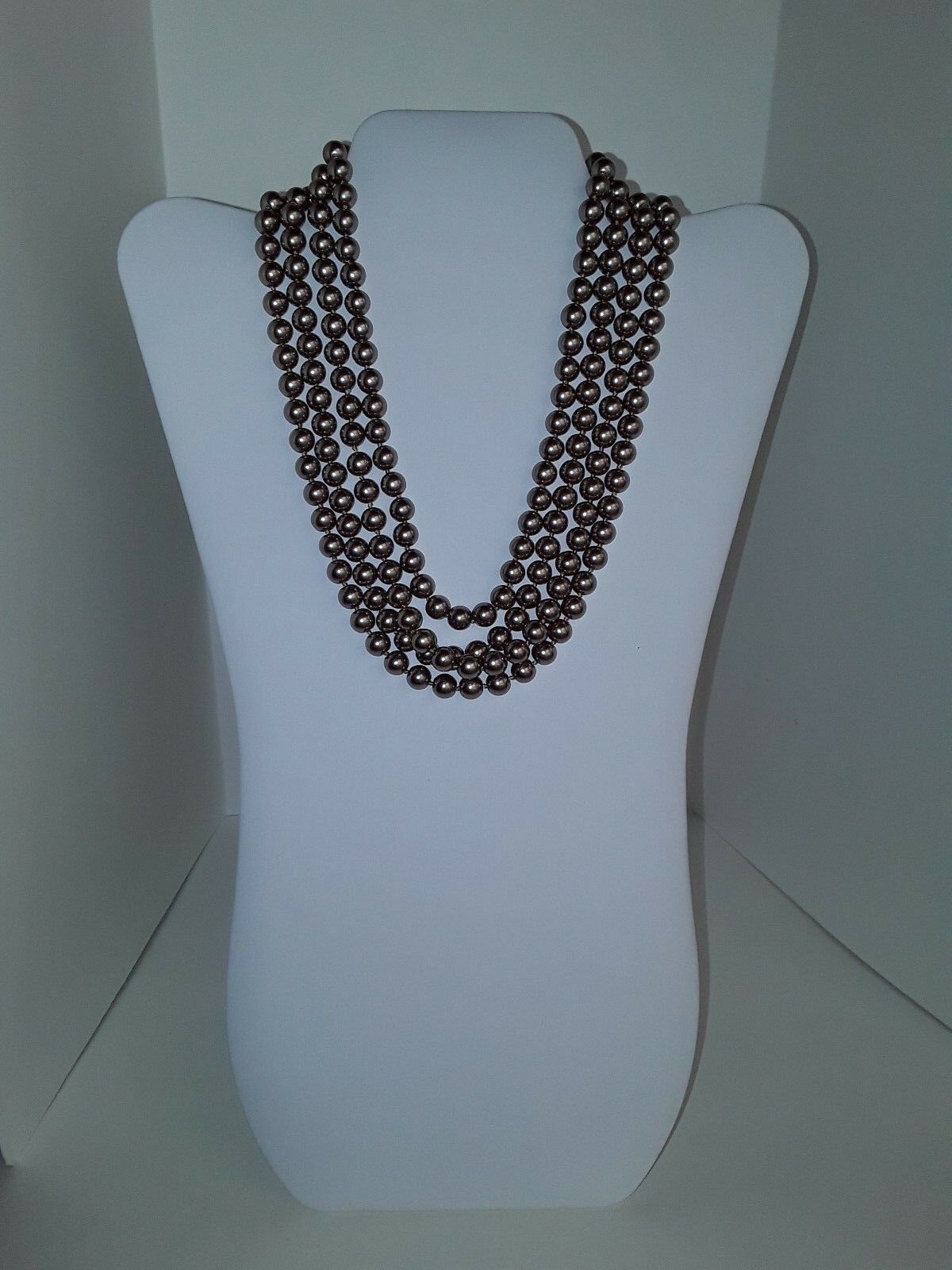 """COOKIE LEE Rose Gold Tone Faux Pearls Single Strand 76"""" Long Necklace EUC image 3"""
