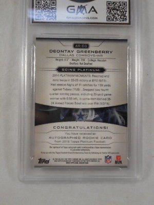 2015 Topps Platinum 21/99 Deontay Greenberry Gold Auto Rookie GMA Graded Gem 10
