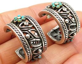 925 Sterling Silver - Vintage Turquoise & CZ Floral Bali J-Hoop Earrings - E3936 - $56.20