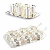 Six Glass Tray and Six Manchurian Bowl Spoon-Tray Combo, Dinnerware Set - $60.26