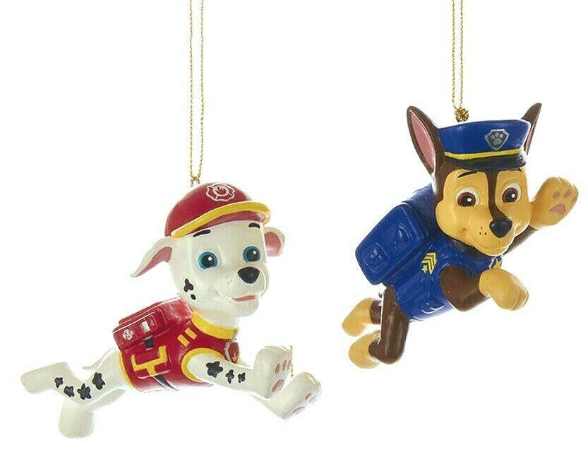 Set of 2 Kurt S. Adler Marshall Chase Paw Patrol Christmas Blow Mold Ornaments