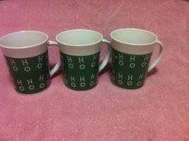 (3)  ROYAL NORFOLK--COFFEE MUGS / CUPS--HO HO HO--CHRISTMAS-GREEN-FREE S... - $18.98
