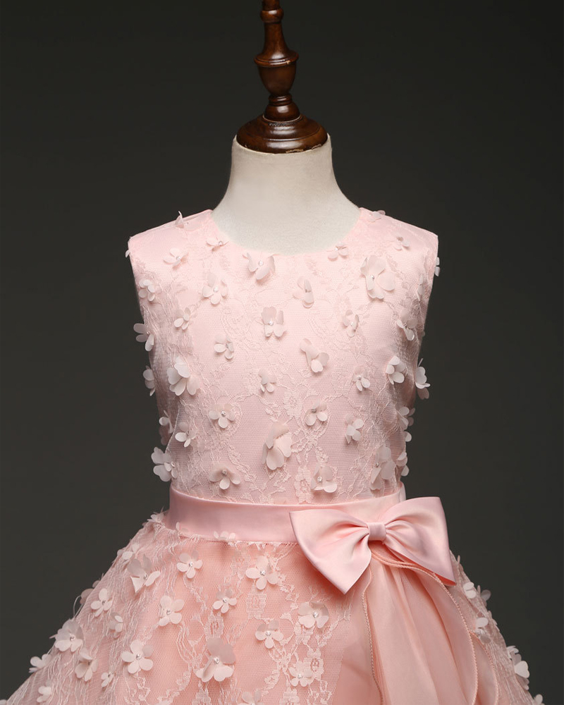 Newly Floral lace Formal Dress Pricess Flowe Girl Dresses With Bow Party Gowns