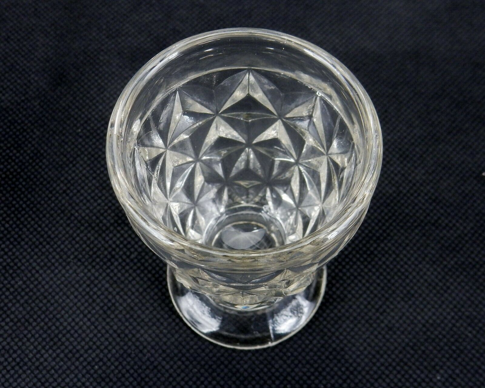 Barrel Shaped Vintage Toothpick Holder Clear Cut Glass Star Pattern
