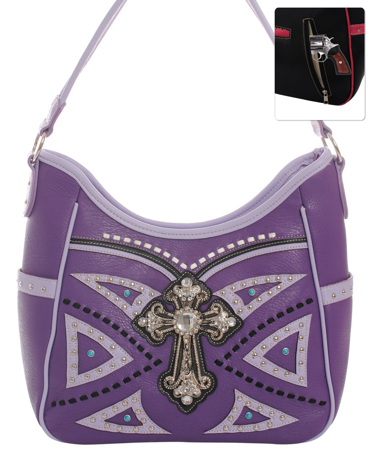 Studded Western Rhinestone Cross Shoulder Handbag Purse (Purple)