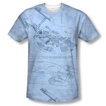 Star Trek The Original Series Enterprise Cut-Away Blue Print T-Shirt NEW... - $23.95