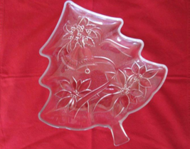 "Christmas Holiday Glass Tree Shaped Dish Poinsettias Bows Bells 13.5"" x 12"" - $5.93"