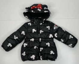 H&M Disney 18M-2Y toddler black white mickey mouse puffer hooded jacket P9 - $27.72