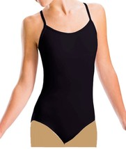 Set of Bloch CL5407 Girl's 14 XLarge Black Camisole Leotard & Tan Footed... - $16.99