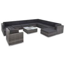 vidaXL Outdoor Sofa Set 35 Piece Poly Rattan Wicker Gray Patio Couch Lounge - $971.99