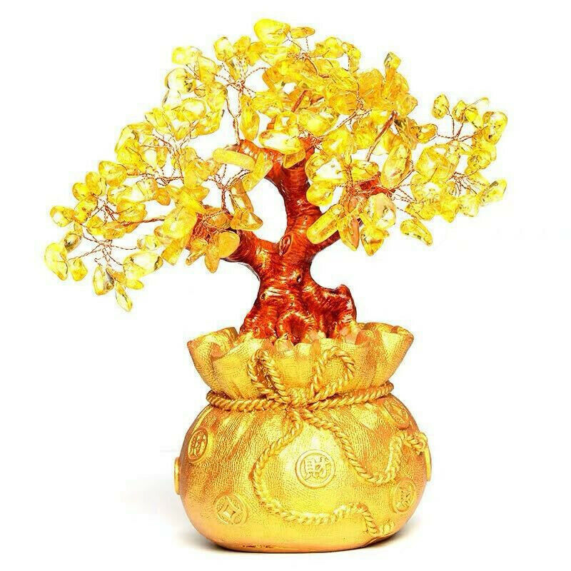 Feng Shui Crystal Wealth Lucky Money Tree Best Gift & Home Good Luck Decoration