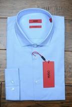 HUGO BOSS Hombre Erondo Extra Ajustado Algodón Elástico Azul Camisa 41 16 - $64.34