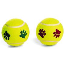 Ethical Yellow/mint Pawprint Tennis Ball Dog Toy 2 Pk 077234042045 - £11.66 GBP