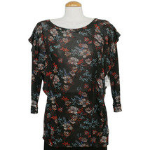 FREE PEOPLE Black Dock Street Stretch Knit Floral Ruffle Top XS - $39.99