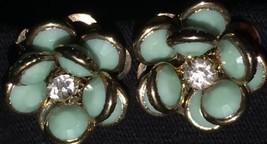 Vintage Flower Stud Earring Teal With Rhinestone Clip On - $15.88