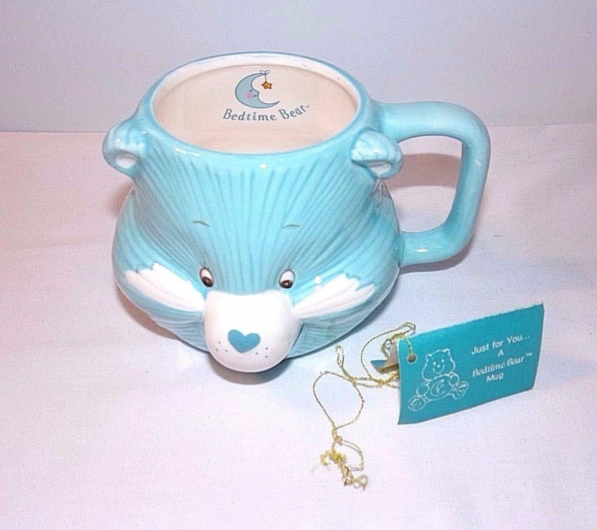 Care Bears 3D Relief MUG Vintage WITH ORIGINAL TAG Blue Bedtime Bear 1984 Mug - $22.72