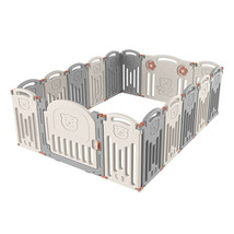 14 Panels Folding Baby Playpen Yard Home Pen Fence Safety Play Center Wh... - $143.86