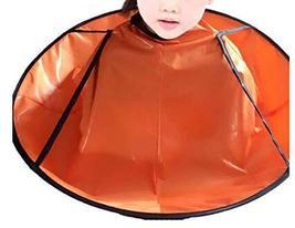 Professional Kid Hair Cutting Cape Baby Styling Salon Waterproof Cloak, Orange