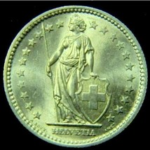 1961 Switzerland 2 Francs Silver Coin AU Great!! - $12.30