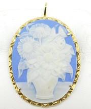 18k Yellow Gold Italian Genuine Natural Jasperware Pin / Pendant (#J4260) - $325.00