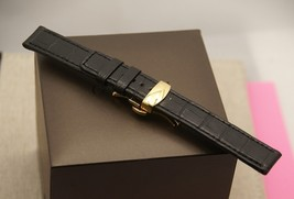 New Gucci 17 MM Black Genuine Crocodile Leather Watch Band - Large - 17.125 LD - $39.95+