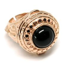 Silver Ring 925 Pink, Door Carries Pads, Onyx Cabochon, Adjustable image 5