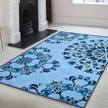 Superior Designer Digitally Printed Non-Slip Thalia 8' x 10' Blue Area Rug  - $159.95