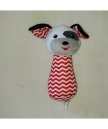 "Spark Imagine Create Red White Chevron Puppy Dog Hand Rattle Plush Toy 6"" - $14.85"