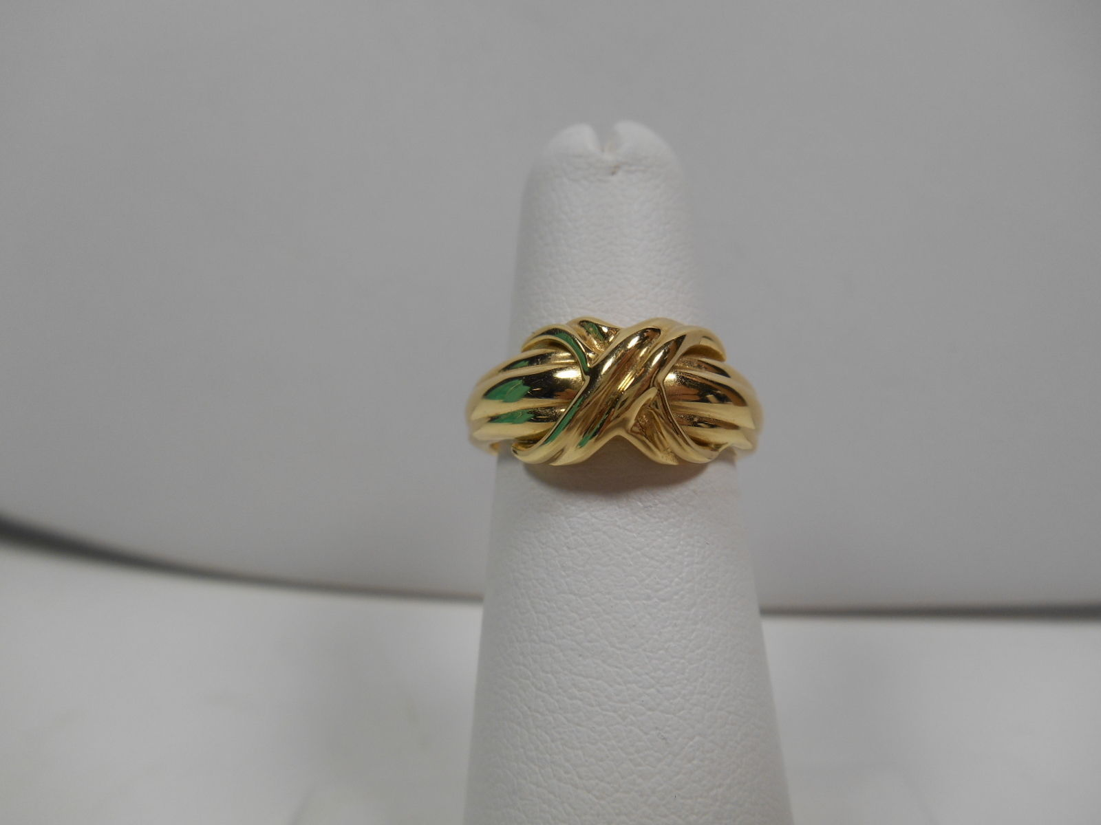 Tiffany & Co.18K Gold Signature X Kiss Cross Rare Wide Band Ring Sz 6 EUC