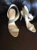 Nine West Adorbs Patent Nude Beige Ankle Asymmetrical Strap Sandal Heels... - $31.20