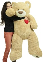 Giant 5 Foot Teddy Bear 60 Inch Soft Plush Animal Heart on Chest to Expr... - $97.11