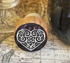 Wine Stopper,Decorative Heart Handmade Wood Bottle Stopper, Valentine's Day - $8.86
