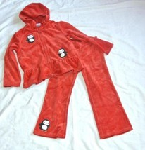 Gymboree Winter Penguin Velour Hoodie Pants Red 4T 5T outfit set - $19.75