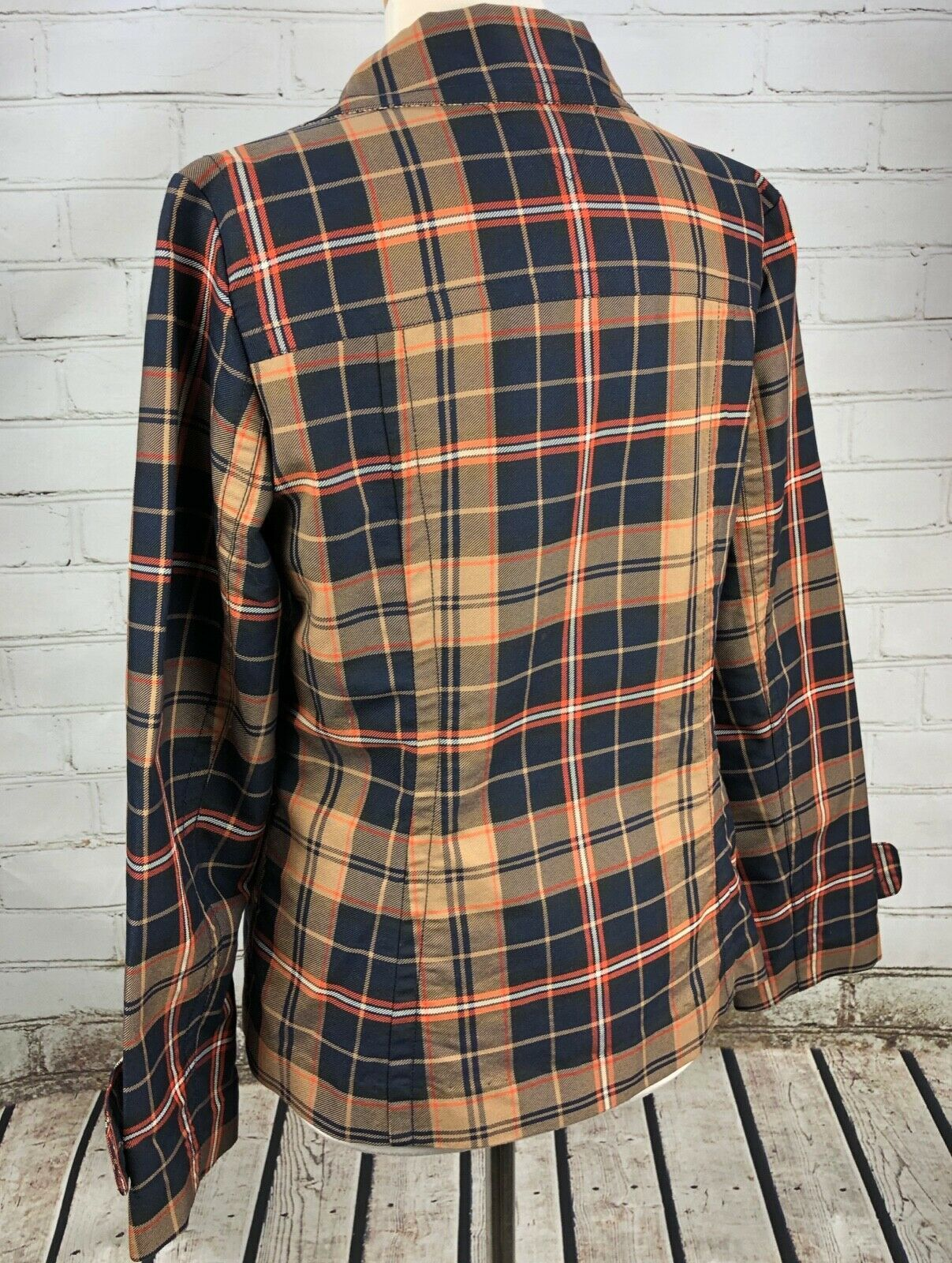 Tommy Hilfiger Jacket Plaid Lightweight Pea Coat Trench Fall Plaid Cotton Size M image 4