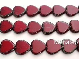 10  15 x 15 mm Czech Glass Window Heart Beads: Oxblood - Picasso - $5.56