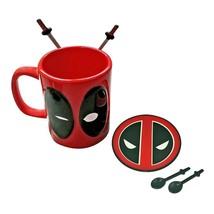 Deadpool Coffee Mug with Spoons & Coaster Red - $26.98