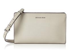 Michael Kors Jet Set Travel Large Leather Crossbody Clutch Bag Purse Cem... - $102.51