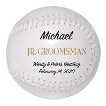 Junior Groomsman Custom Softball Wedding Gift - Personalized Wedding Favor - $34.95