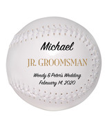 Junior Groomsman Custom Softball Wedding Gift - Personalized Wedding Favor - $34.95