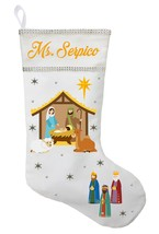 Nativity Christmas Stocking - Personalized and Hand Made Jesus Christmas... - $29.99