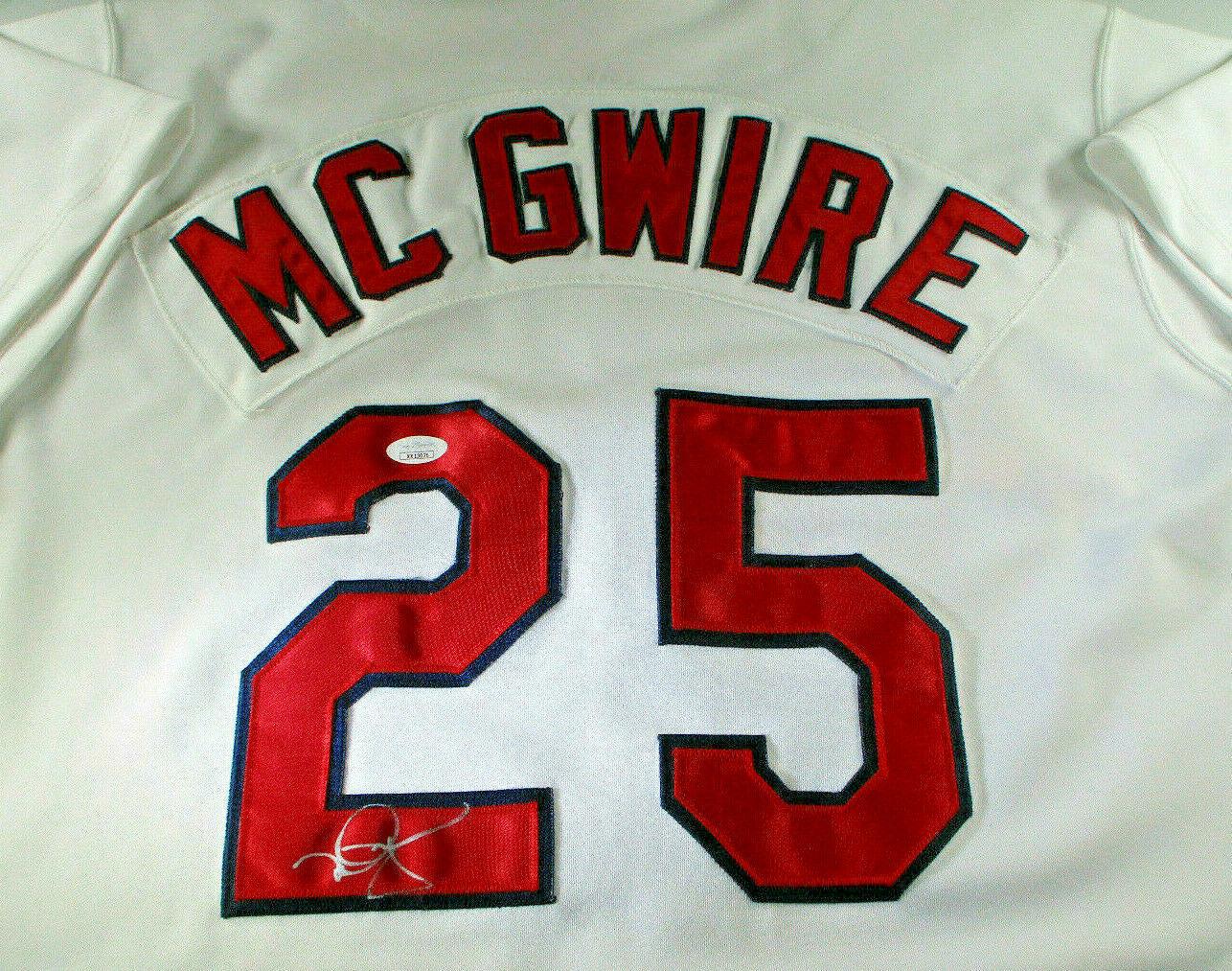 MARK MCGWIRE / AUTOGRAPHED CARDINALS WHITE RUSSELL MLB BASEBALL JERSEY / JSA LOA