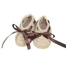 Baby Infant Handmade Crochet Shoes Knit Warm Winter Sock Gift 10CM Beige